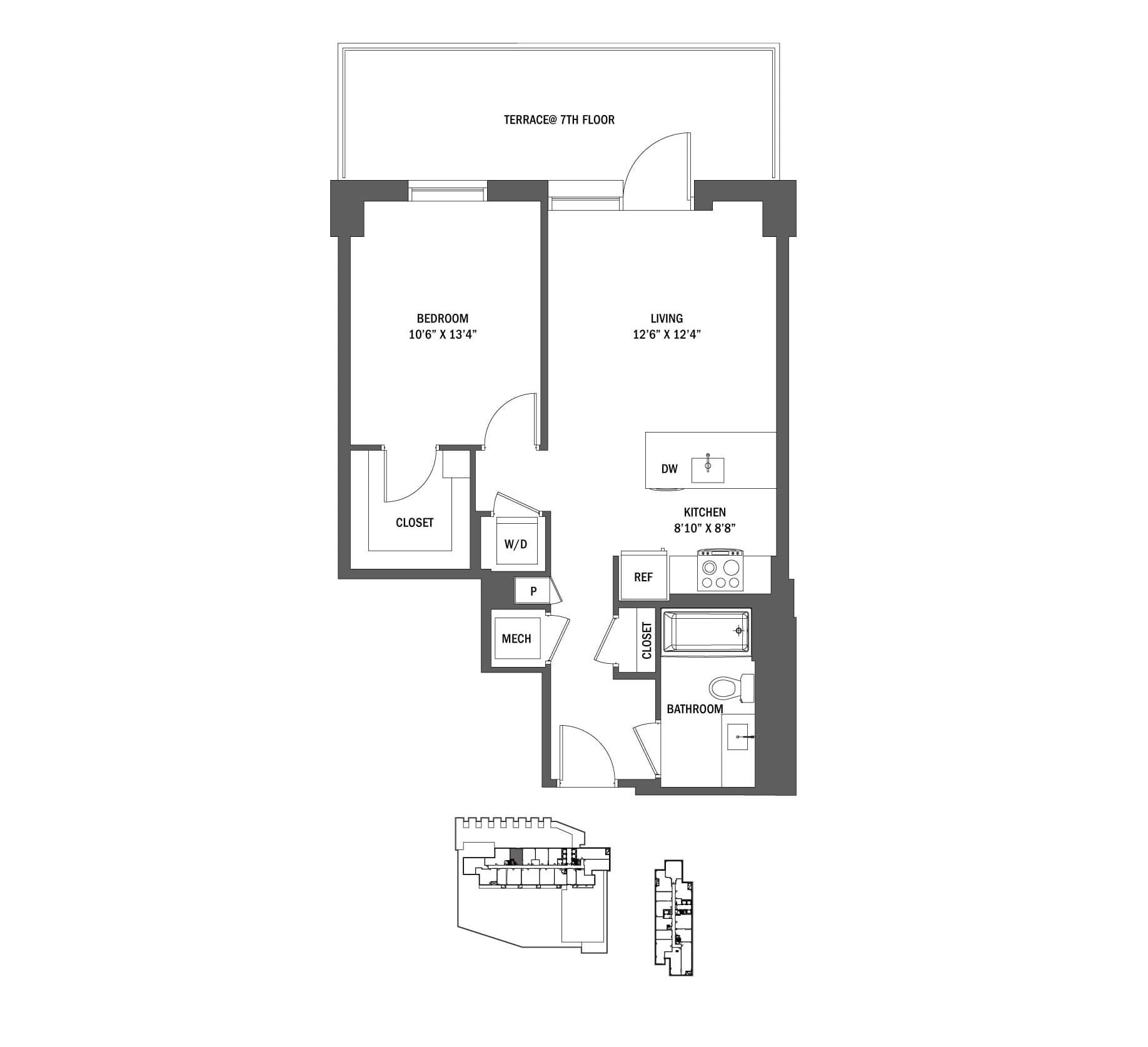 1 Bed 1 Bath Junior A61 Bedroom, 685 Sq Ft