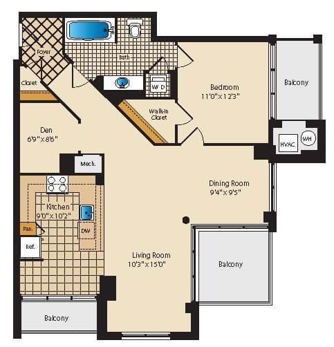 View The Palatine Apartments Apartment Floor Plans - Studios, 1, 2 ...