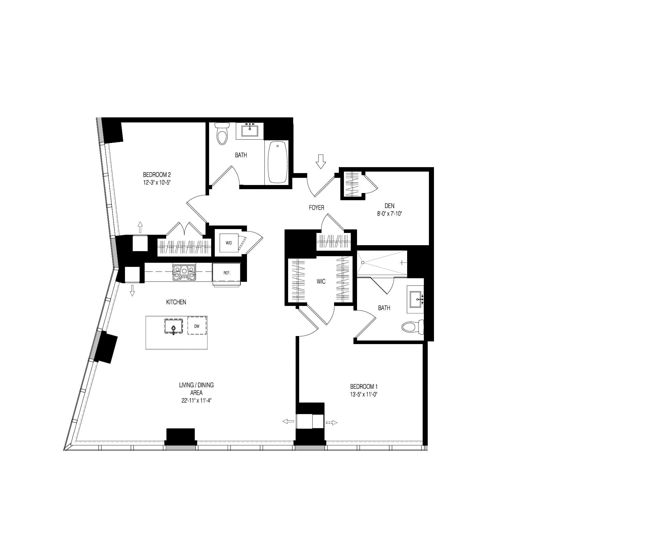 1218 sq ft 2 bedroom