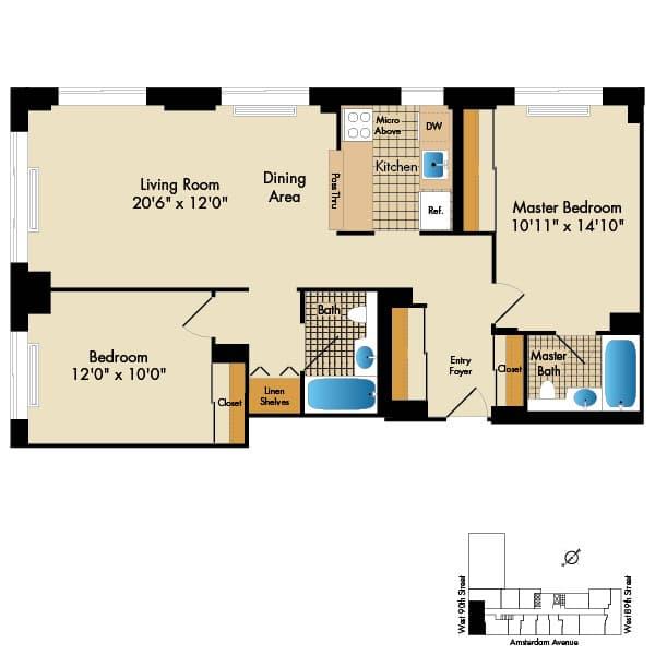 2 Bedroom D1 949 Sq Ft