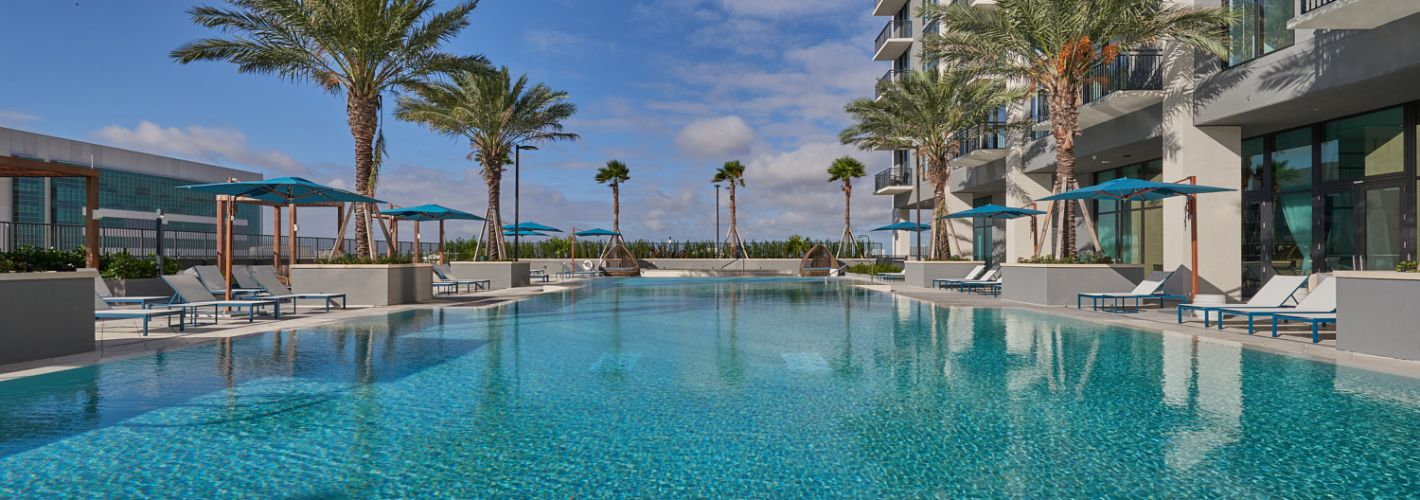 Park-Line Miami : Looking over the pool towards our cabanas