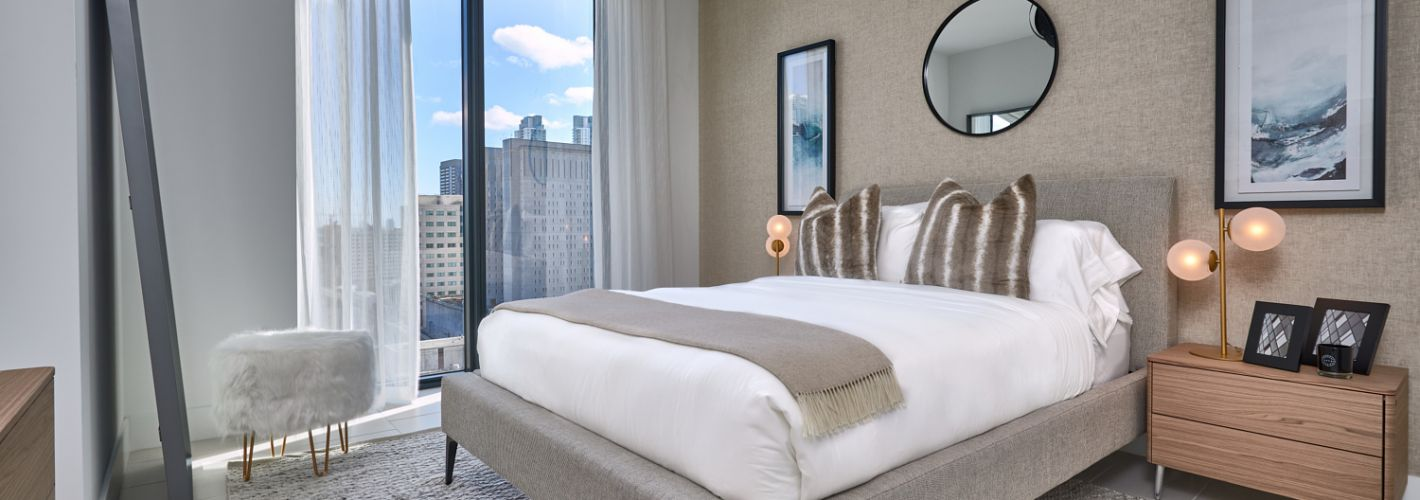 Park-Line Miami : Floor to ceiling windows and tiled flooring in our bedrooms