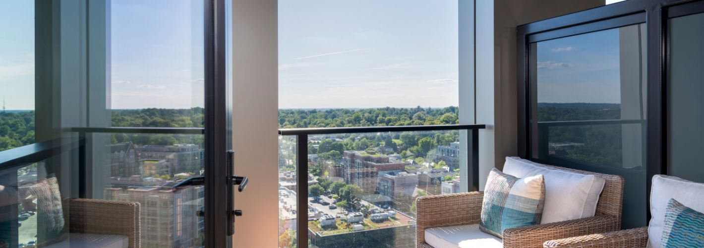 The Elm : Private balconies and terraces* available in select residences.
