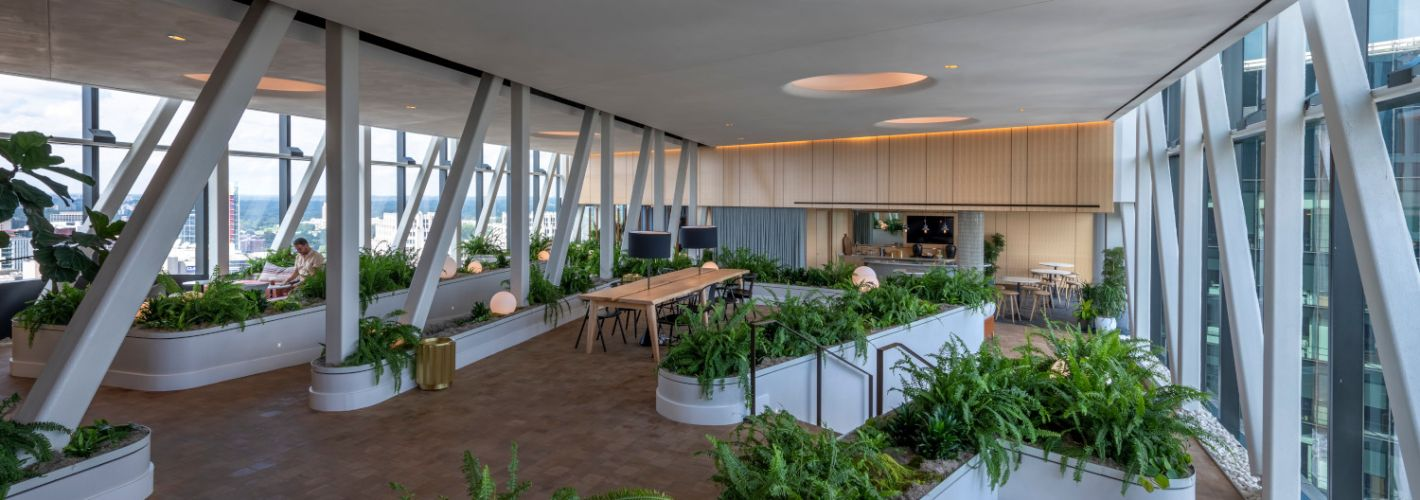 The Elm :  Gather with friends and neighbors over a communal dinner in the Skybridge, complete with a shared kitchen and expansive windows to take in the view.